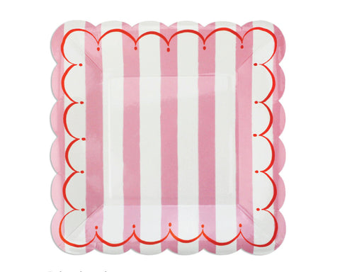 Pink Stripe Scalloped Dessert Plates