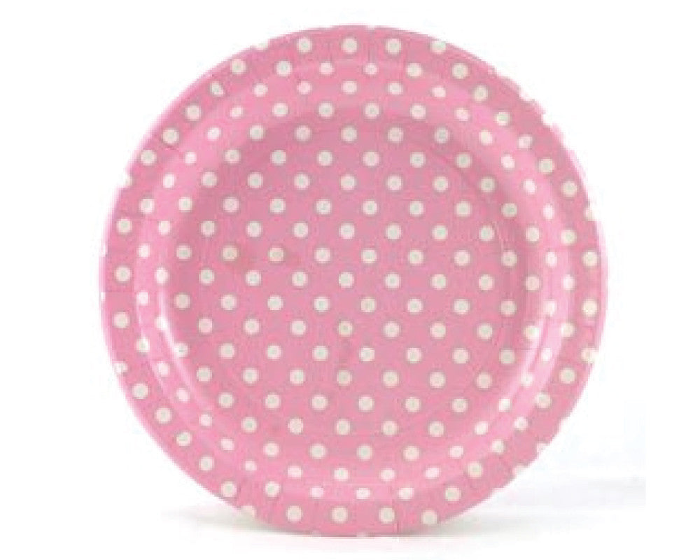 Pink With White Polka Dots Paper Plates - Undercover Hostess