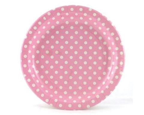 Pink With White Polka Dots Paper Plates