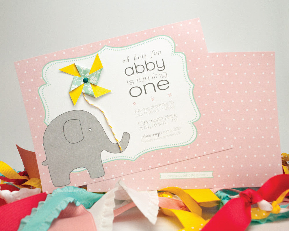 Pinwheels & Elephants Invitations - Undercover Hostess - 1