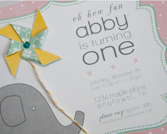 Pinwheels & Elephants Invitations - Undercover Hostess - 2