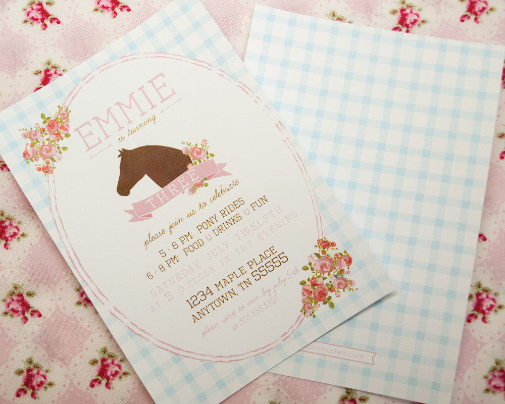 Shabby Chic Pony Party Invitations - Undercover Hostess - 1