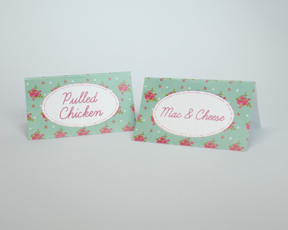 Shabby Chic Pony Party Tent Cards - Undercover Hostess