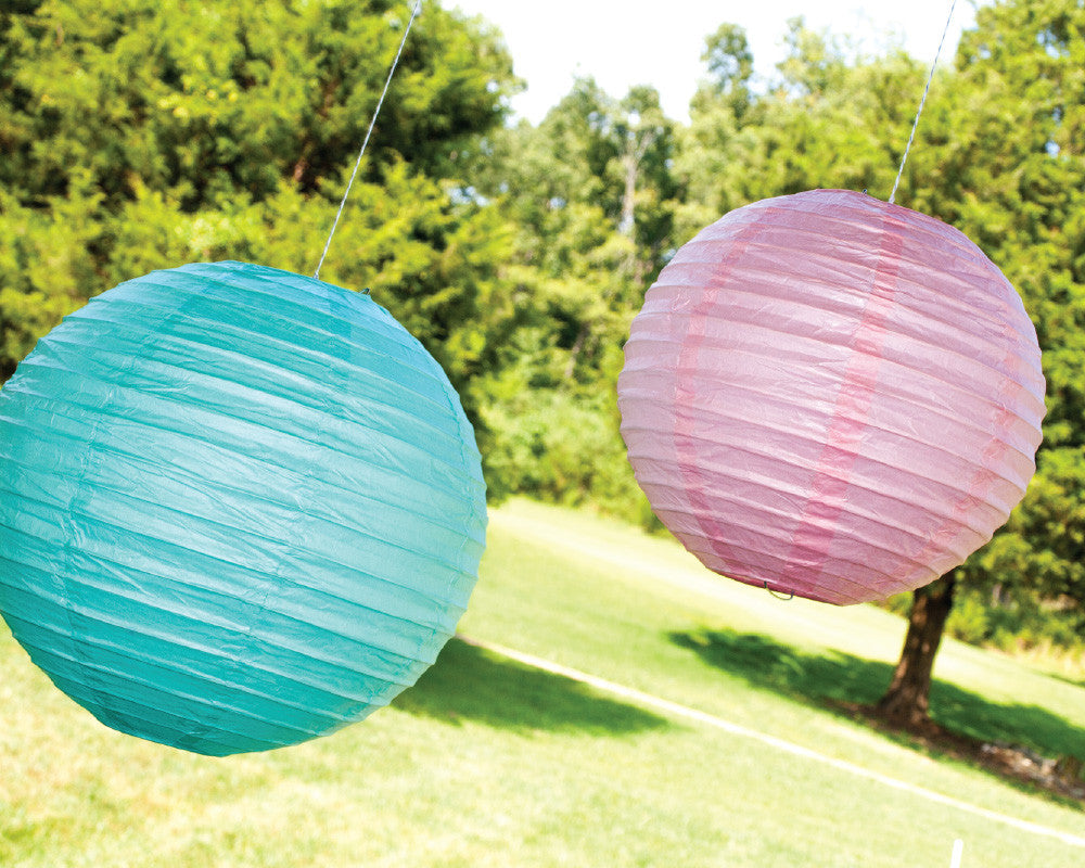 Teal & Pink Paper Ribbed Lanterns - Undercover Hostess