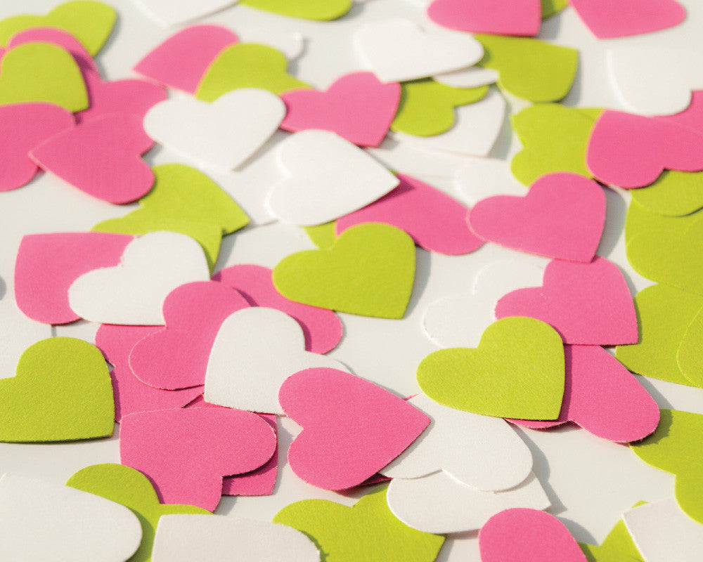 Bright Pink, Green and White Heart Confetti - Undercover Hostess