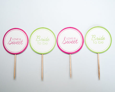Pink + Green Bridal Shower Cupcake Toppers