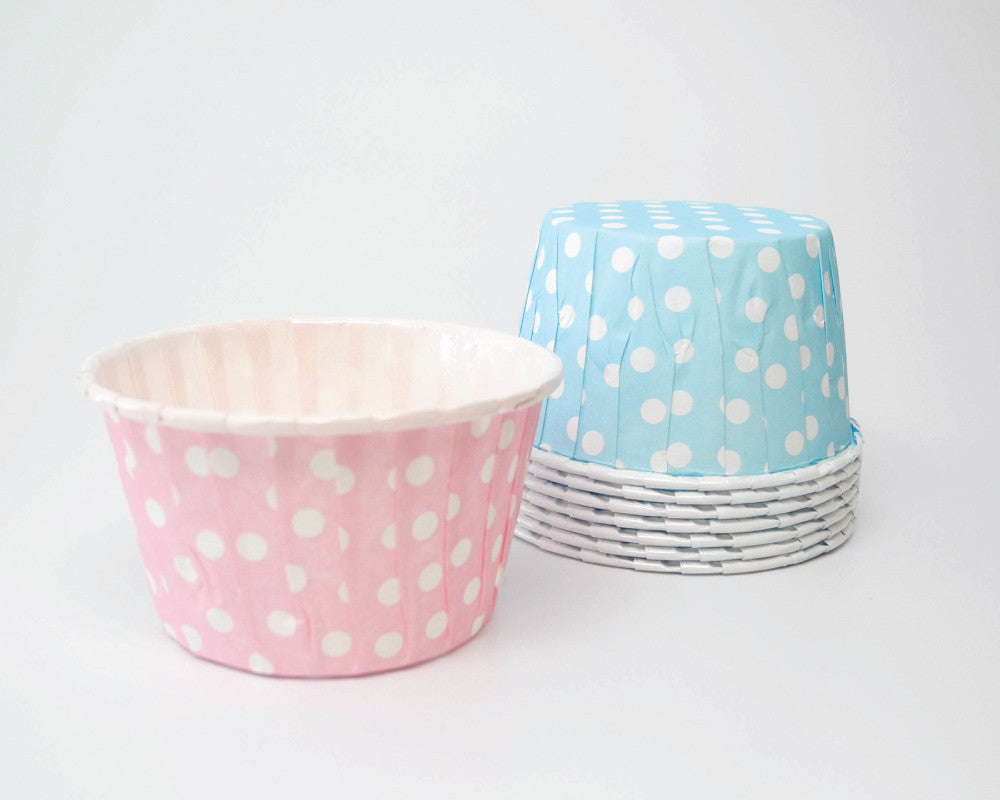 Light Pink and Baby Blue Polka Dot Candy Cups - Undercover Hostess