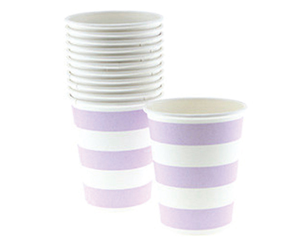 Lavender Stripe Paper Cups - Undercover Hostess