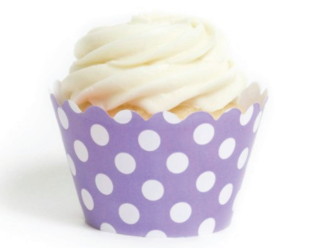 Lavender Polka Dot Cupcake Wrappers - Undercover Hostess