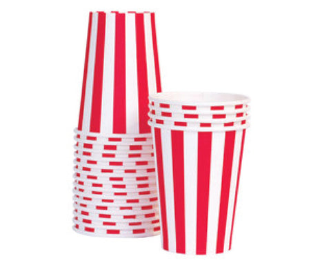 Red Stripe Paper Cups