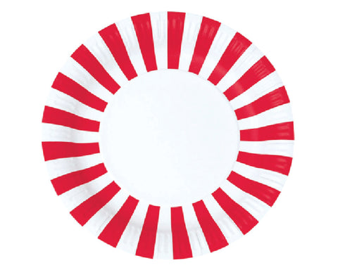 Red Striped Paper Plates