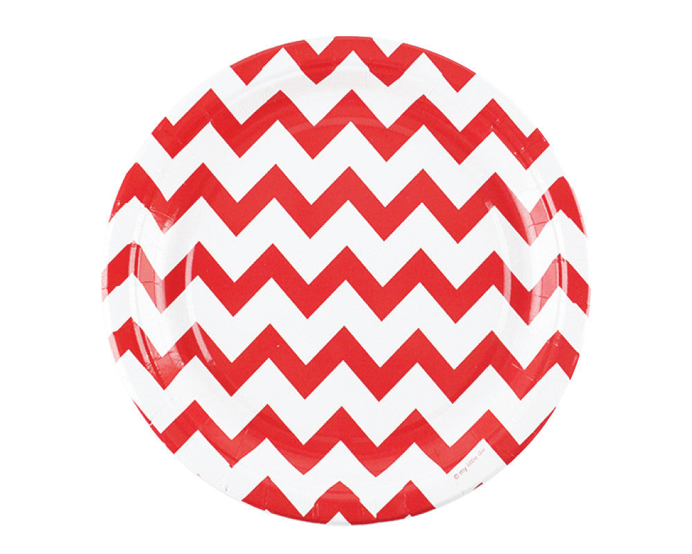 Red Chevron Paper Plates - Undercover Hostess