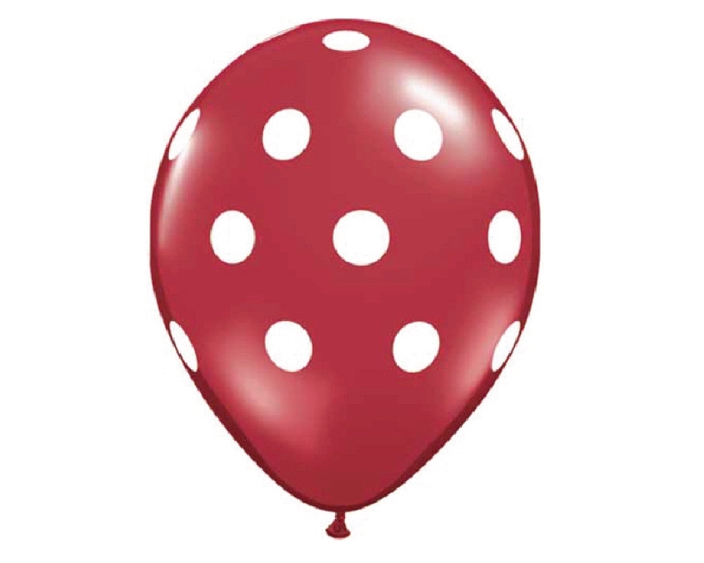 "Red Polka Dot 11"" Balloons - Set of 6 - Undercover Hostess - 1"