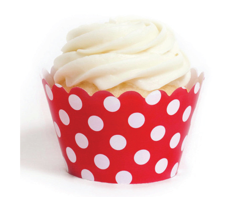 Red Polka Dot Cupcake Wrappers - Undercover Hostess