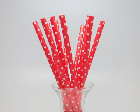 Red Polka Dot Straws