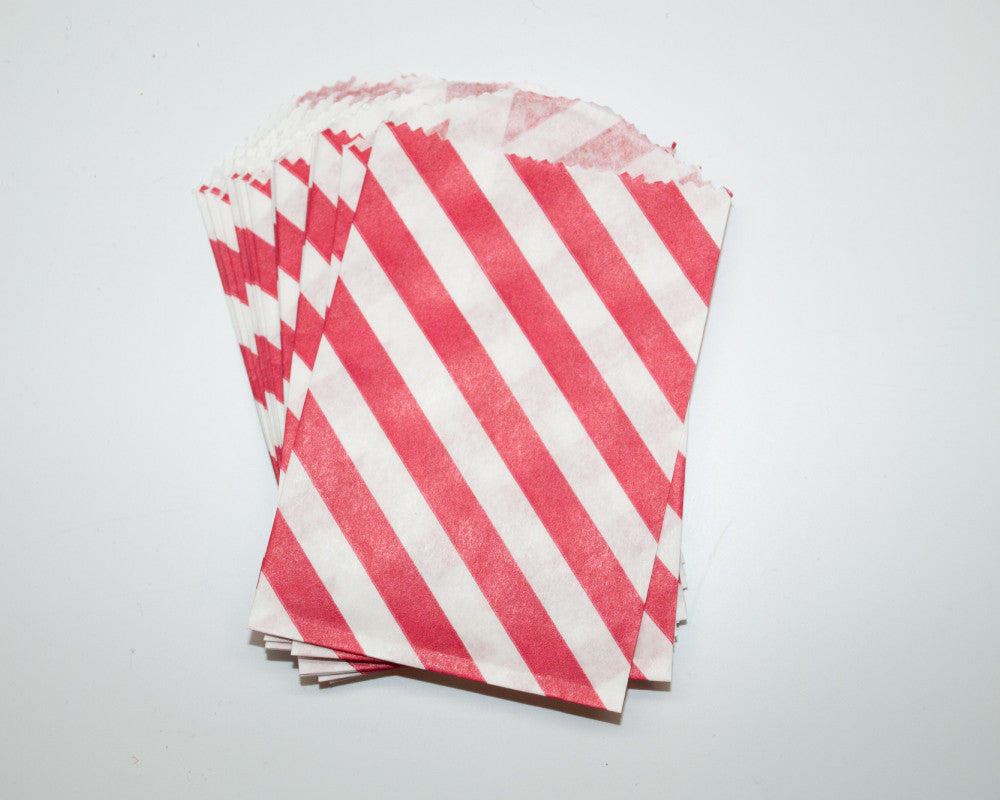 Small Red Stripe Favor Bags - Undercover Hostess