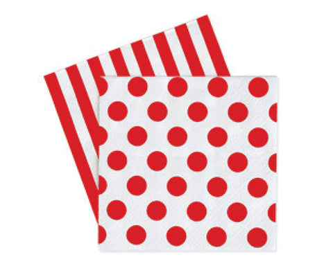 Red Polka Dot & Stripes Napkins