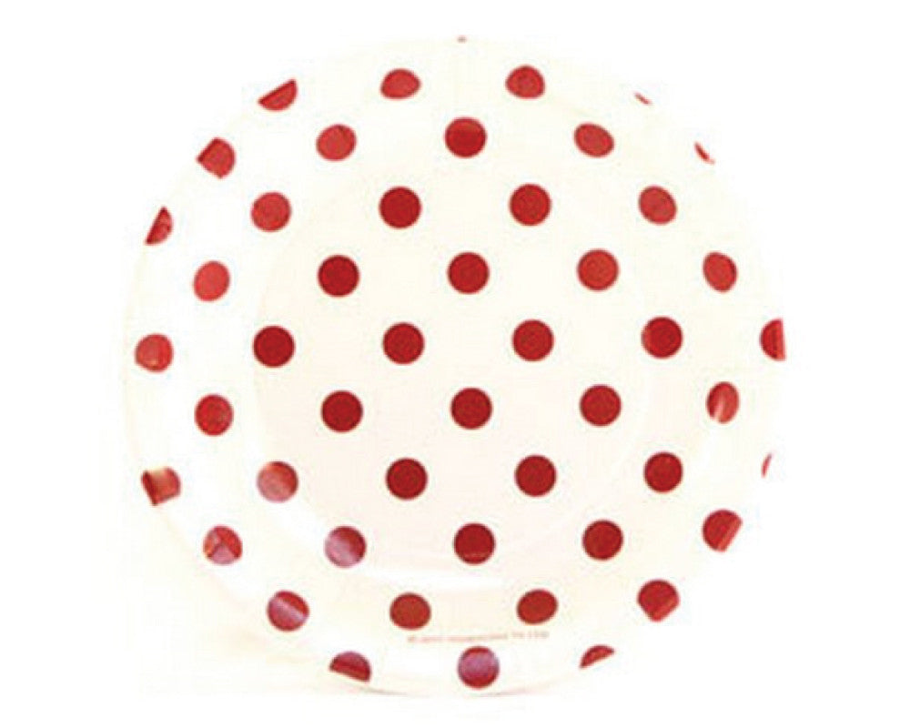 White with Red Polka Dots Dessert Plate - Undercover Hostess