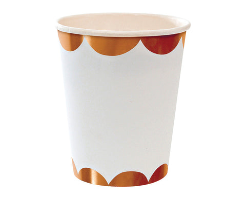 Rose Gold & White Scalloped Paper Cups