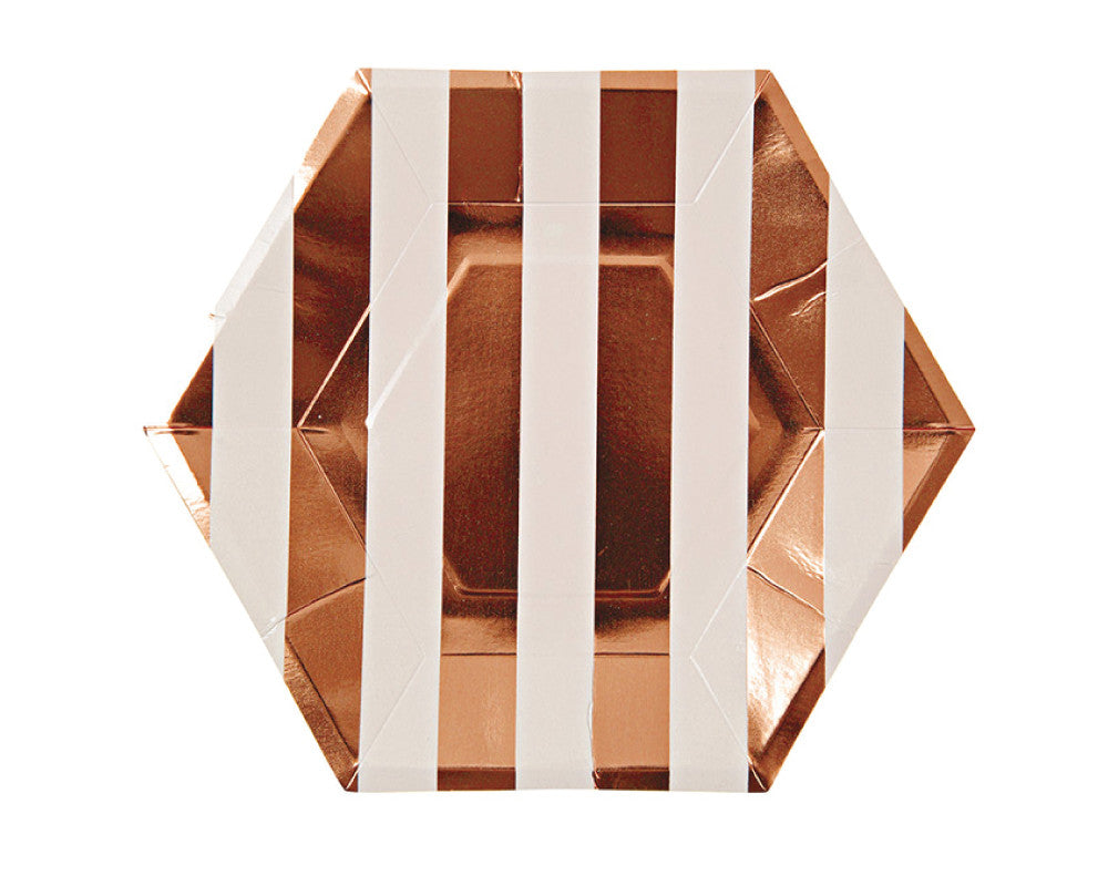 Rose Gold Small Striped Plates - Undercover Hostess