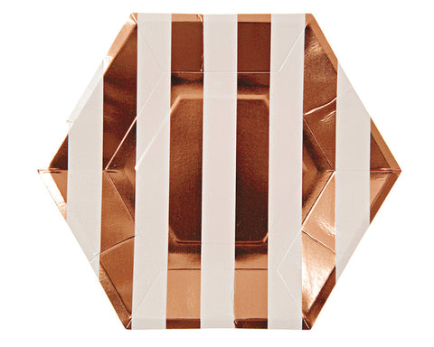 Rose Gold Large Striped Plates