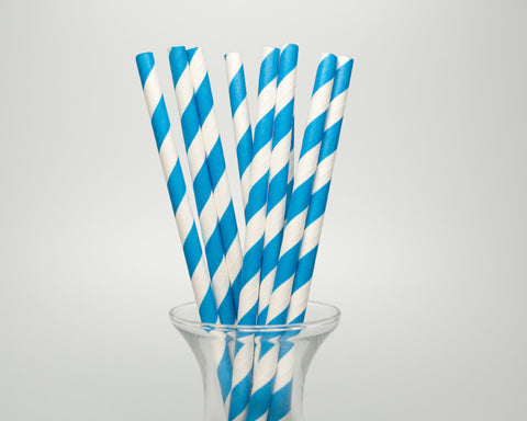 Royal Blue Striped Straws