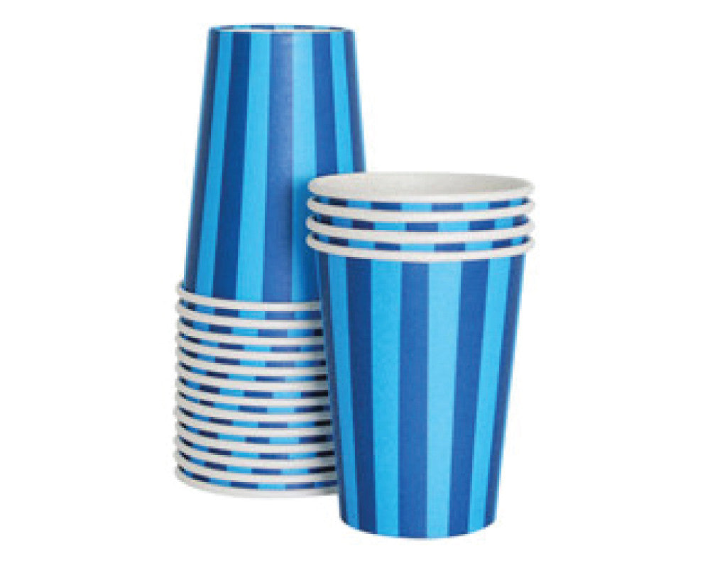 Blue Stripe Paper Cups - Undercover Hostess