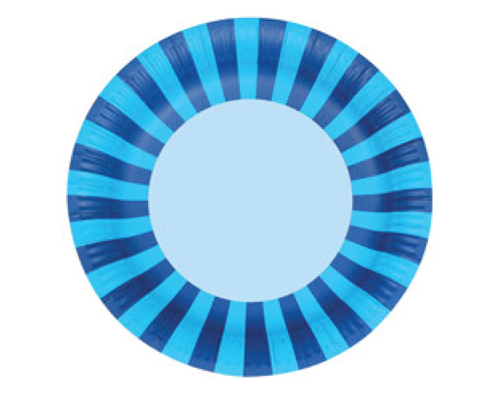 Blue Stripe Paper Plates - Undercover Hostess