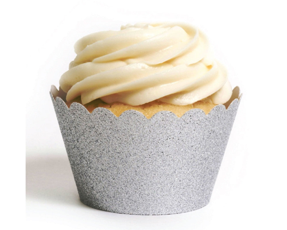 Silver Glitter Cupcake Wrappers - Undercover Hostess