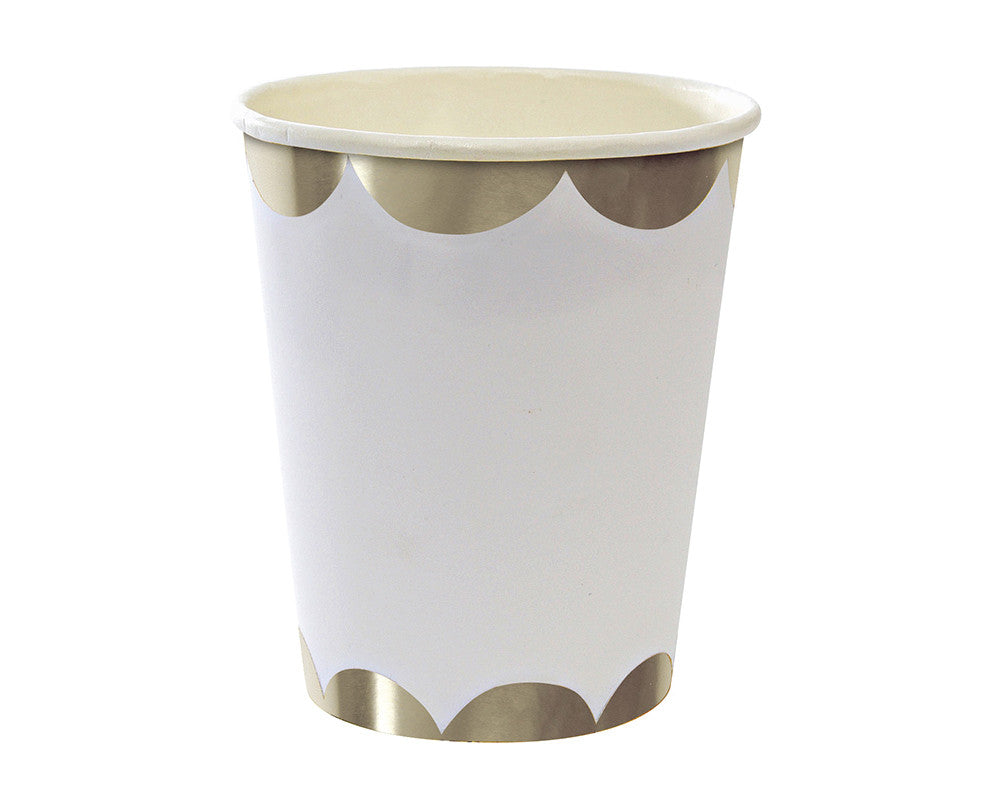 Silver & White Scalloped Paper Cups - Undercover Hostess
