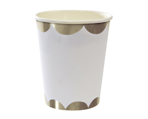 Silver & White Scalloped Paper Cups