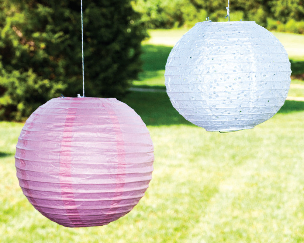 Pink & Lace Paper Ribbed Lanterns - Undercover Hostess