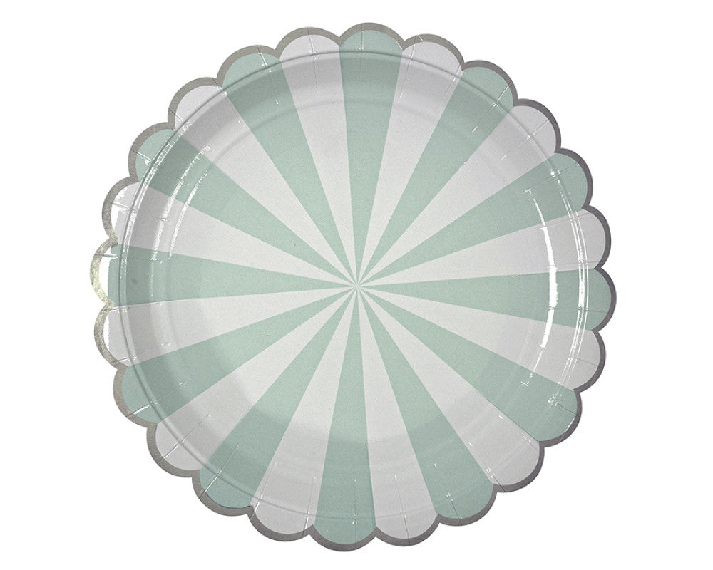 Teal & White Scalloped Paper Plates - Undercover Hostess