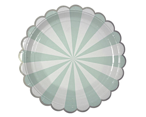 Teal & White Scalloped Paper Plates