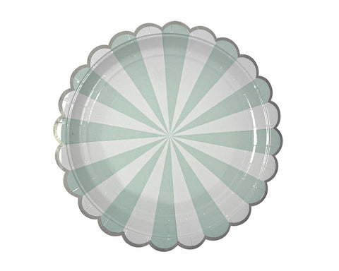 Teal & White Scalloped Dessert Plates