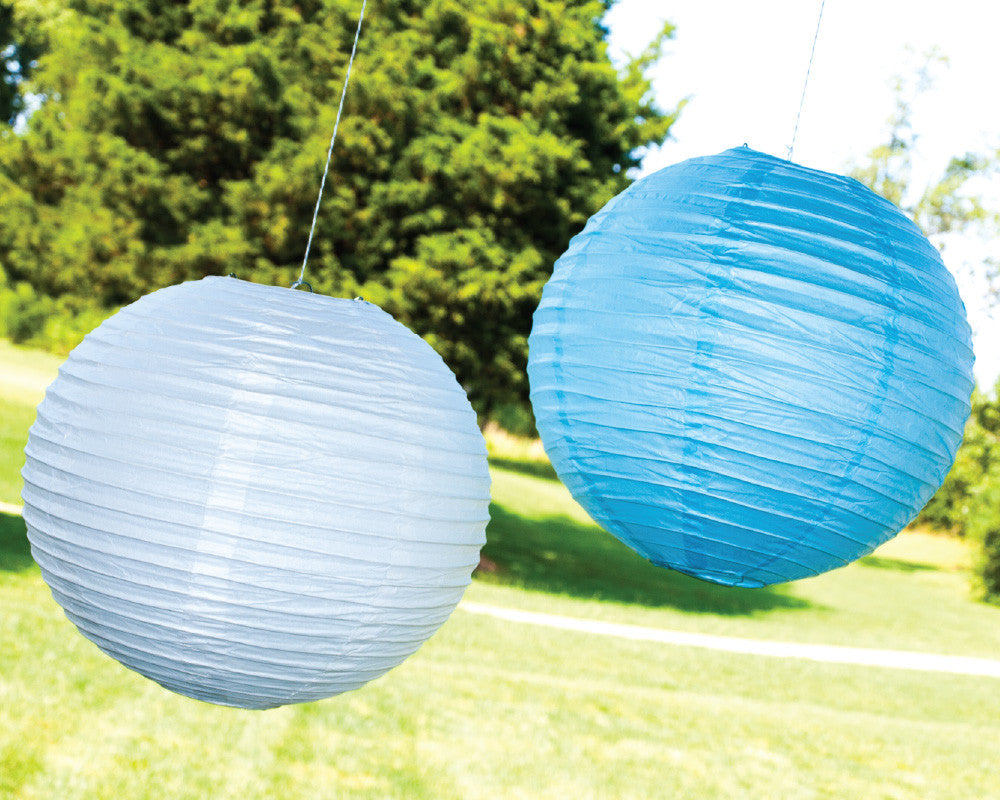Powder Blue & White Paper Ribbed Lanterns - Undercover Hostess