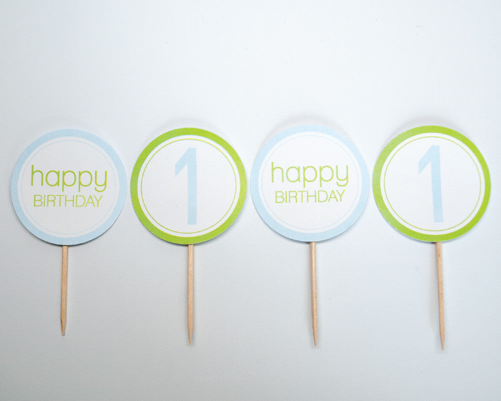 Green + Blue Cupcake Toppers - Undercover Hostess