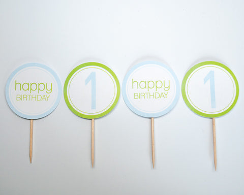 Green + Blue Cupcake Toppers