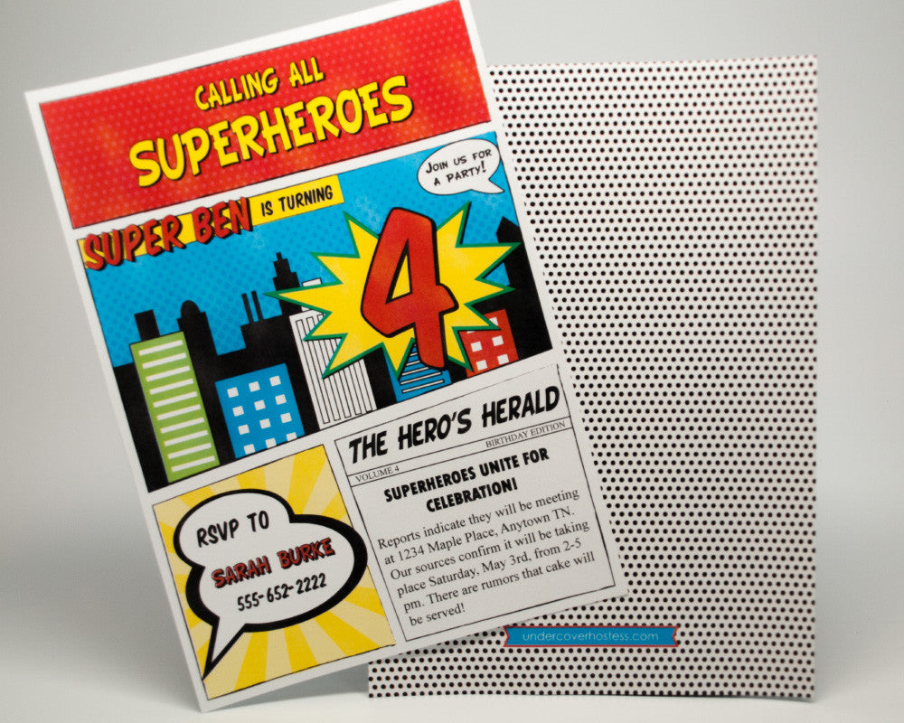 Calling All Superheroes Invitations - Undercover Hostess - 1