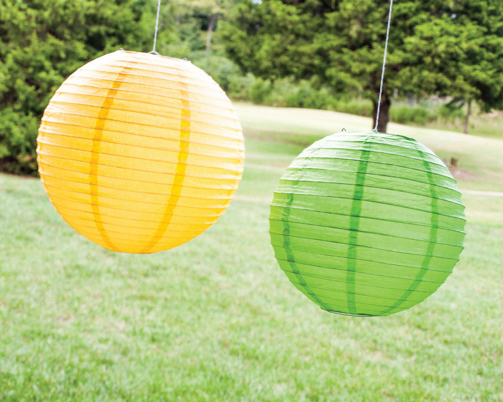 Yellow & Green Paper Ribbed Lanterns - Undercover Hostess