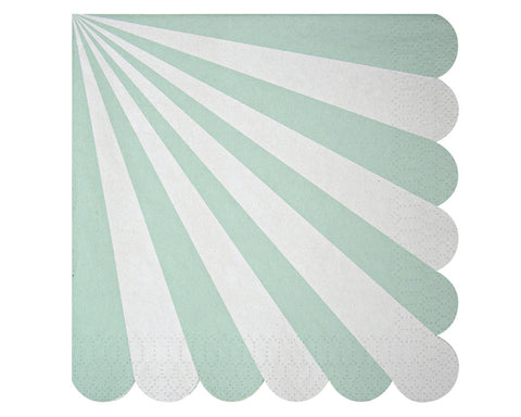 Teal & White Scalloped Napkins
