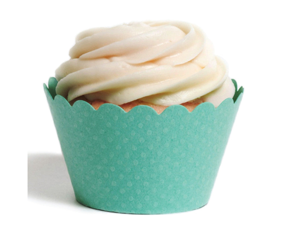 Teal Tiny Dot Cupcake Wrapper - Undercover Hostess