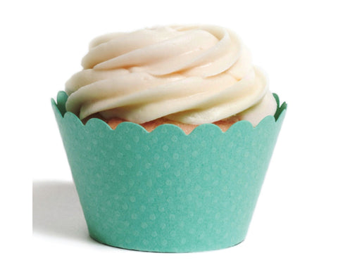 Teal Tiny Dot Cupcake Wrapper