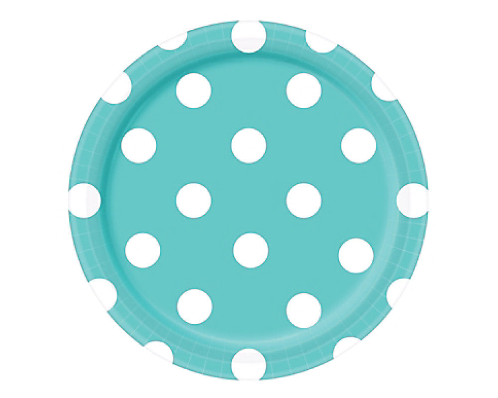 Teal Polka Dot Dessert Plates - Undercover Hostess