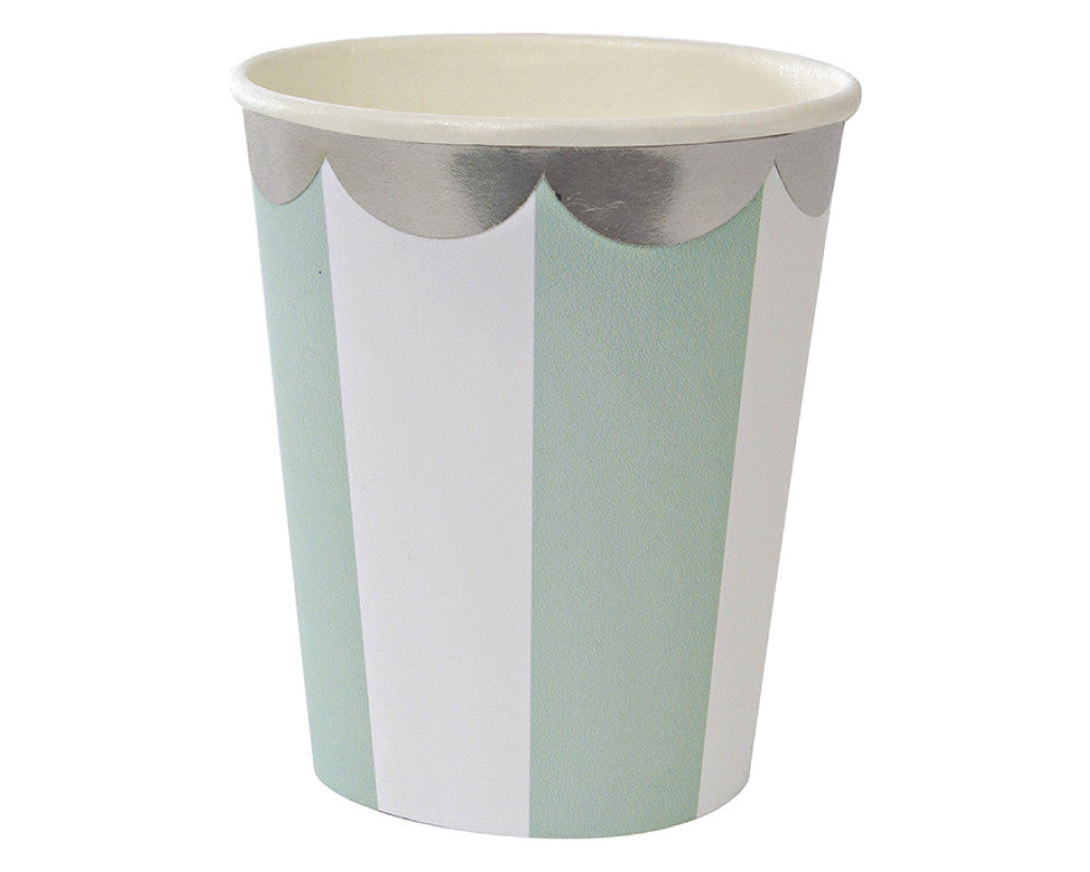 Teal & White Scalloped Paper Cups - Undercover Hostess