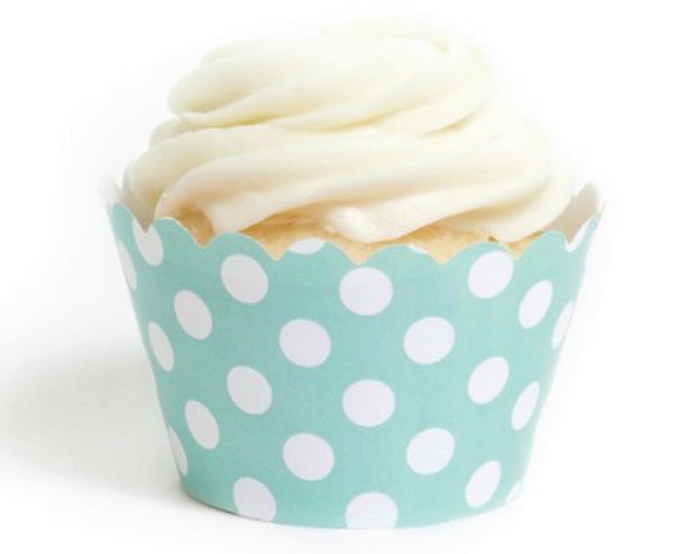 Diamond Blue Polka Dot Cupcake Wrappers - Undercover Hostess
