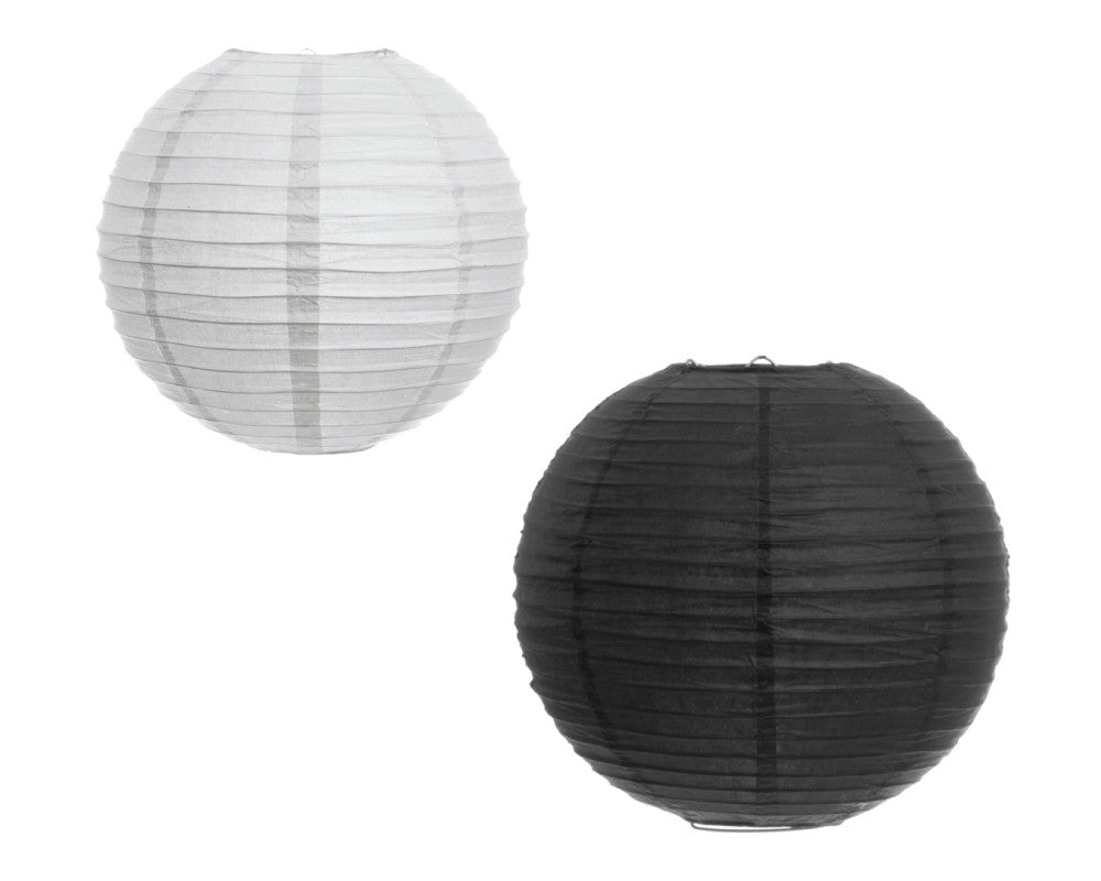 White and Black Ribbed Lanterns - Undercover Hostess