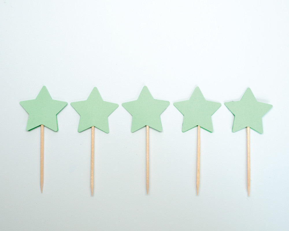Mint Star Cupcake Toppers - Undercover Hostess