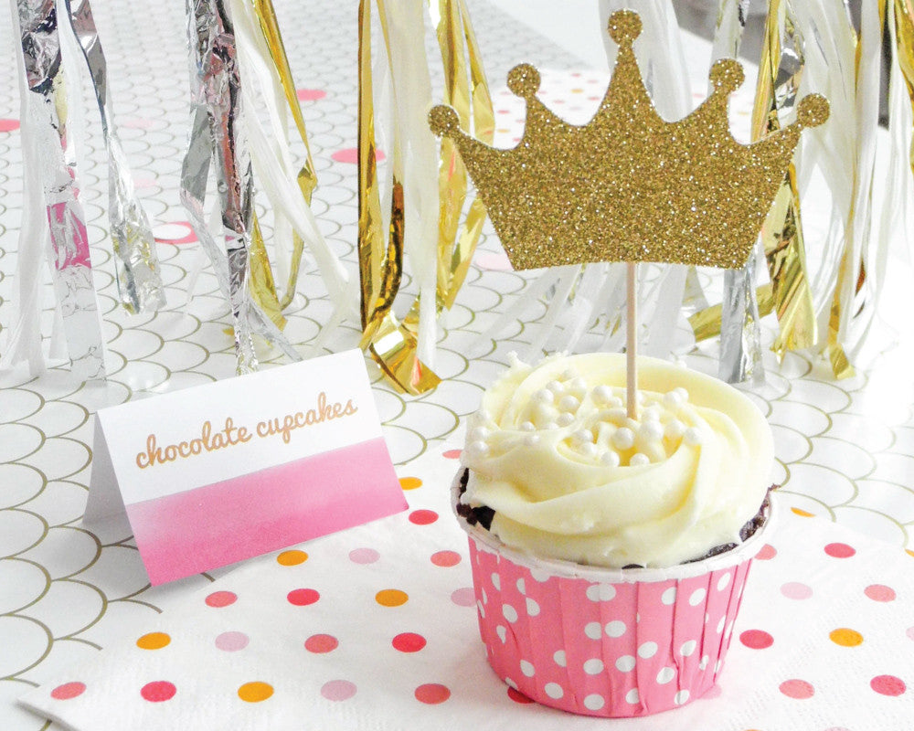 Gold Crown Cupcake Toppers - Undercover Hostess