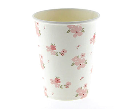 White and Pink Floral Paper Cups